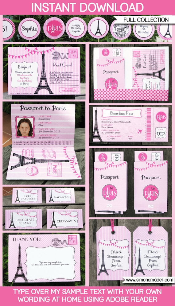 Paris Party Printables Invitations Decorations