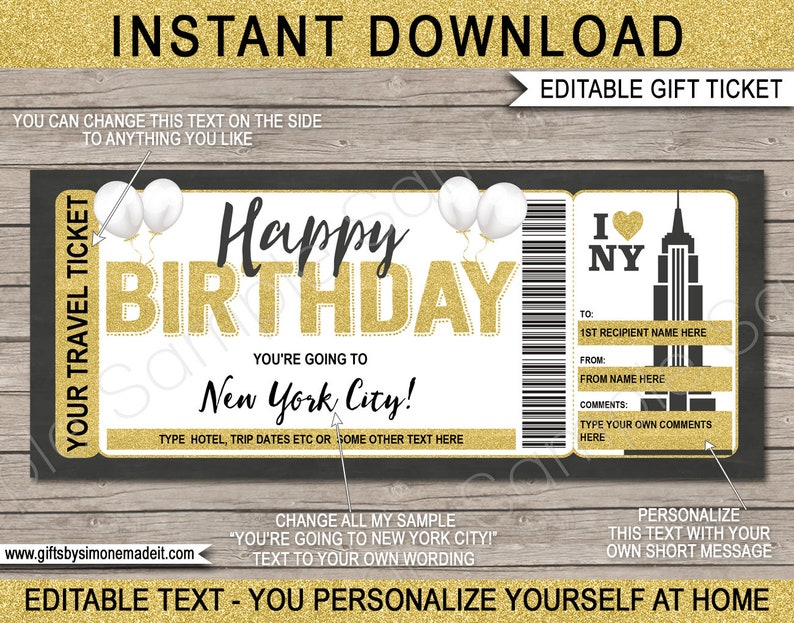 New York Ticket Template Gift Voucher Certificate EDITABLE text Printable Birthday Trip Reveal Boarding Pass Holiday Vacation Getaway