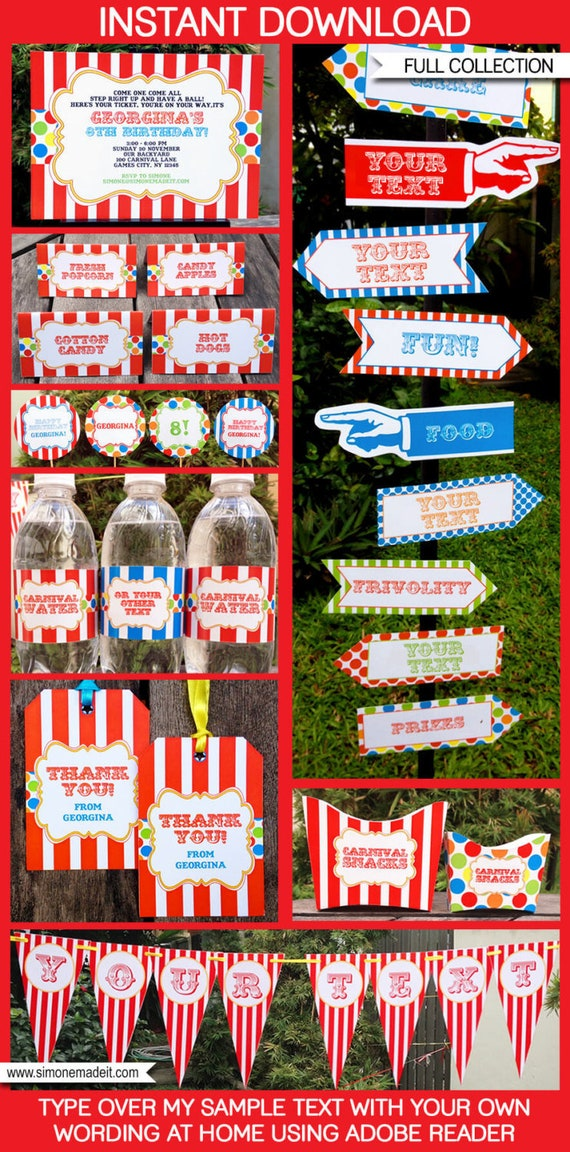 Carnival Theme Party Invitations Decorations Full Etsy