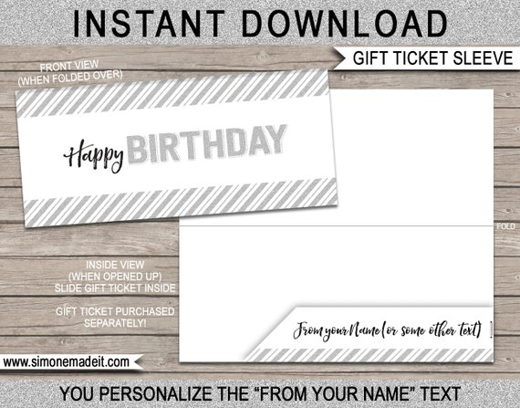 Printable Envelope Sleeve For Birthday Gift Tickets