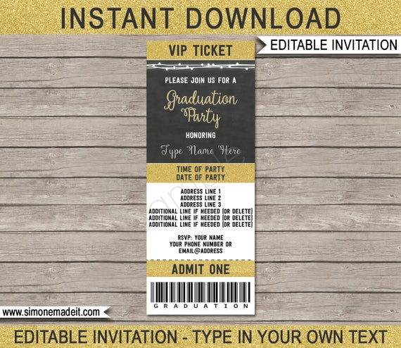 graduation ticket invitation template grad ticket invite for
