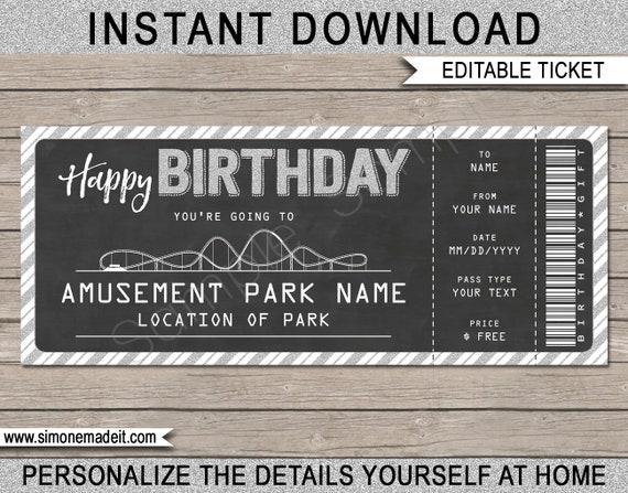 Amusement Park Ticket Birthday Gift Printable Template