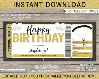 Skydiving Ticket Template Gift Certificate Voucher Card - Birthday Gift Experience Sky Dive Printable - INSTANT DOWNLOAD with EDITABLE text