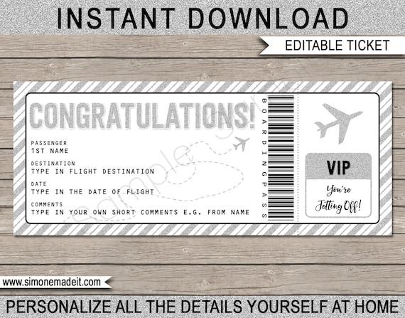 congratulations boarding pass ticket gift printable fake
