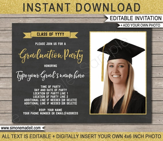 graduation photo invitation template