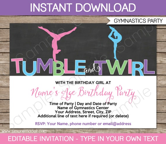 Gymnastics Invitation Template