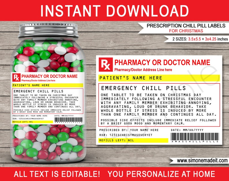 Christmas Chill Pills Label Printable RX Prescription Template for Candy or Jelly Bean Pills EDITABLE Family Friend Secret Santa Gift