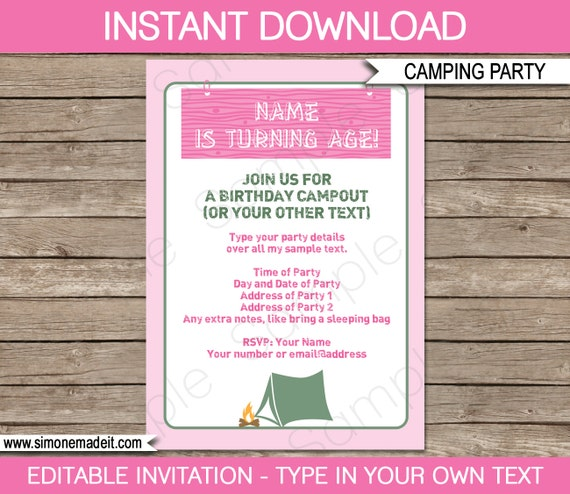 camping invitation template birthday party pink girls instant