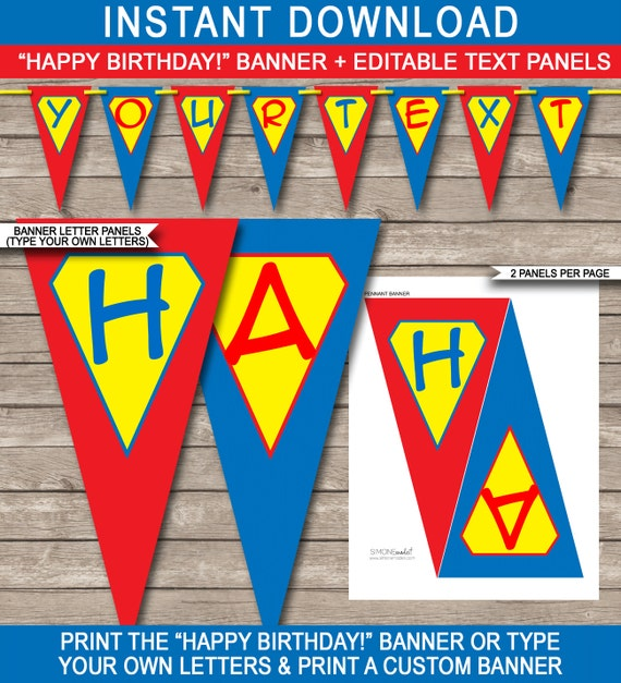 Superhero Decor Superhero Bunting Superhero Party Supplies Superhero Birthday Banner Personalized Superhero Banner