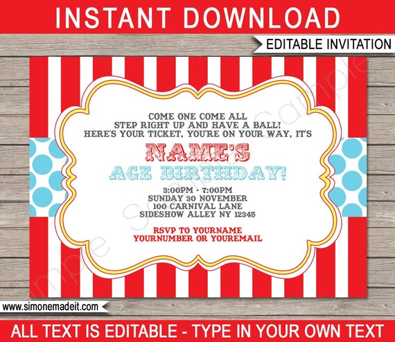 photograph about Printable Carnival Birthday Invitations titled Circus Birthday Social gathering Invitation Printable - Carnival Get together