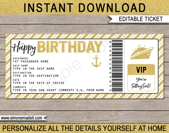 cruise ticket birthday gift printable boarding pass template