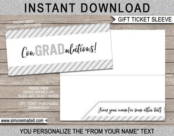 Gift Ticket Sleeve / Envelope for Graduation - Congradulations - Graduation Gift - INSTANT DOWNLOAD with EDITABLE text - you edit & print