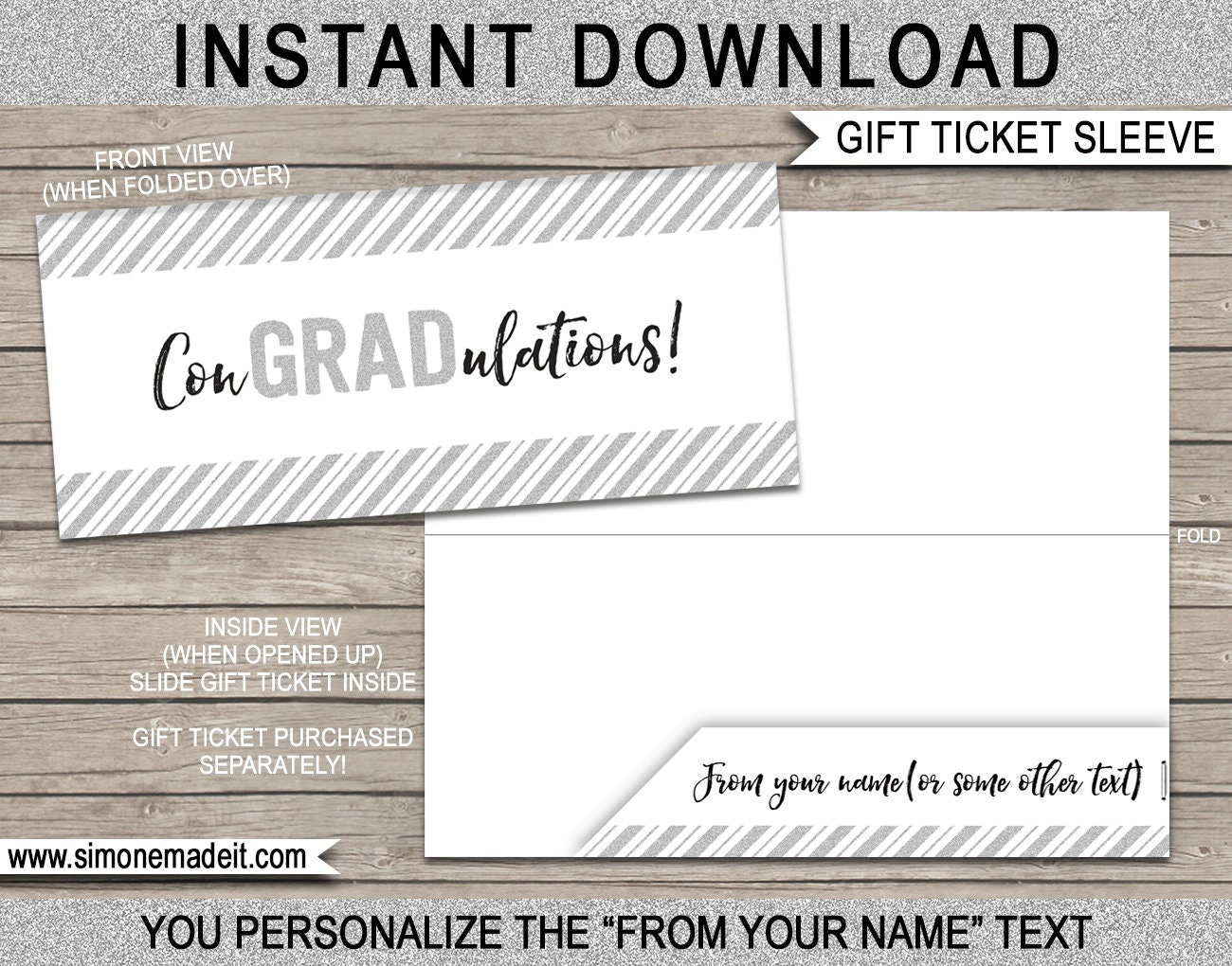 gift ticket sleeve    envelope for graduation
