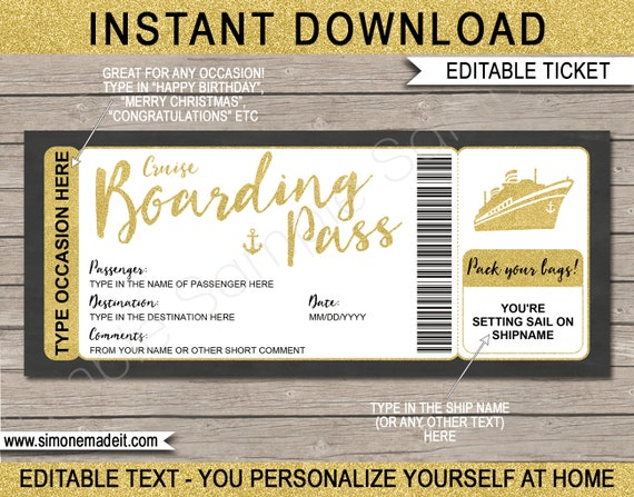photograph about Ticket Template Printable known as Cruise Ticket Template Printable Gold Boarding P Present