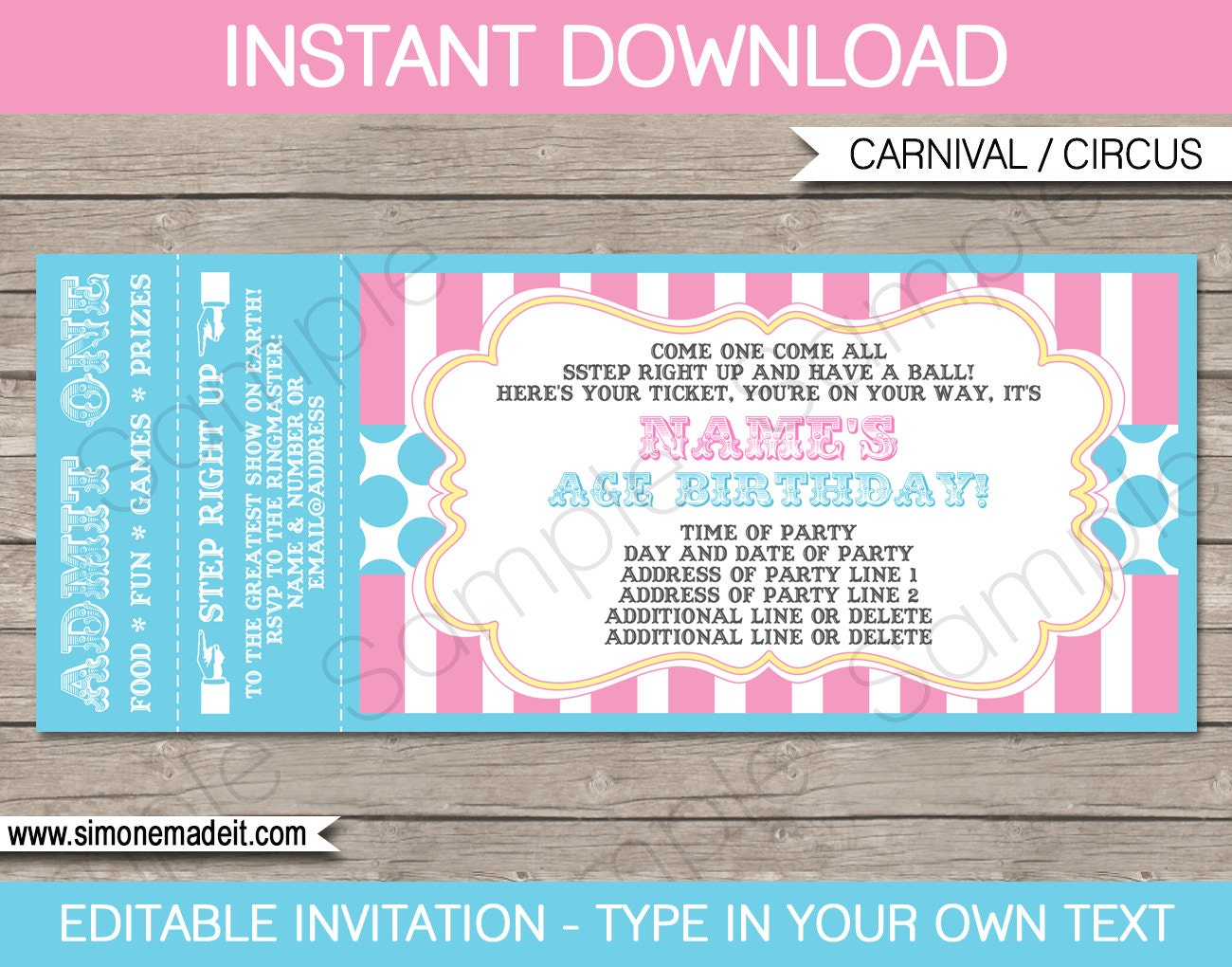 pink circus party ticket invitation template circus party. Black Bedroom Furniture Sets. Home Design Ideas