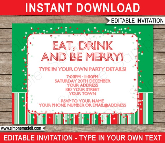 Work Christmas Party Invites: Christmas Invitation Template
