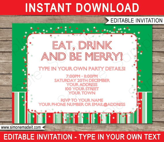 Christmas Invitation Template Christmas Party Invitation