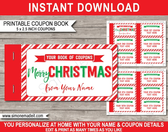 Printable Christmas Coupon Book Template Last Minute Personalized Custom Gift Vouchers Certificate Instant Download With Editable Text