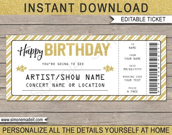 concert ticket birthday gift printable template surprise etsy. Black Bedroom Furniture Sets. Home Design Ideas