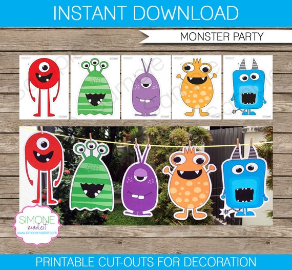 Monster Party Dekoration-Monster Cut Outs INSTANT DOWNLOAD | Etsy