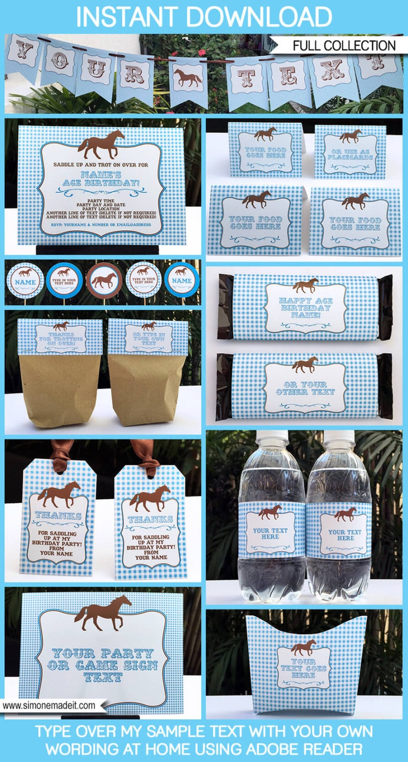 Blue Horse Party Invitations /& Decorations INSTANT DOWNLOAD with EDITABLE text full Printable Package you personalize at home