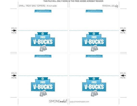 Fortnite V Bucks Printable Party Favors V Bucks Stickers Bag