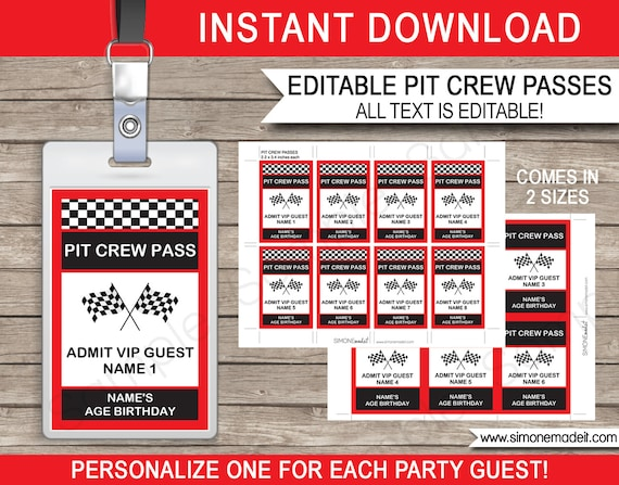 Race Car Party Pit Crew Pass printable insert - INSTANT