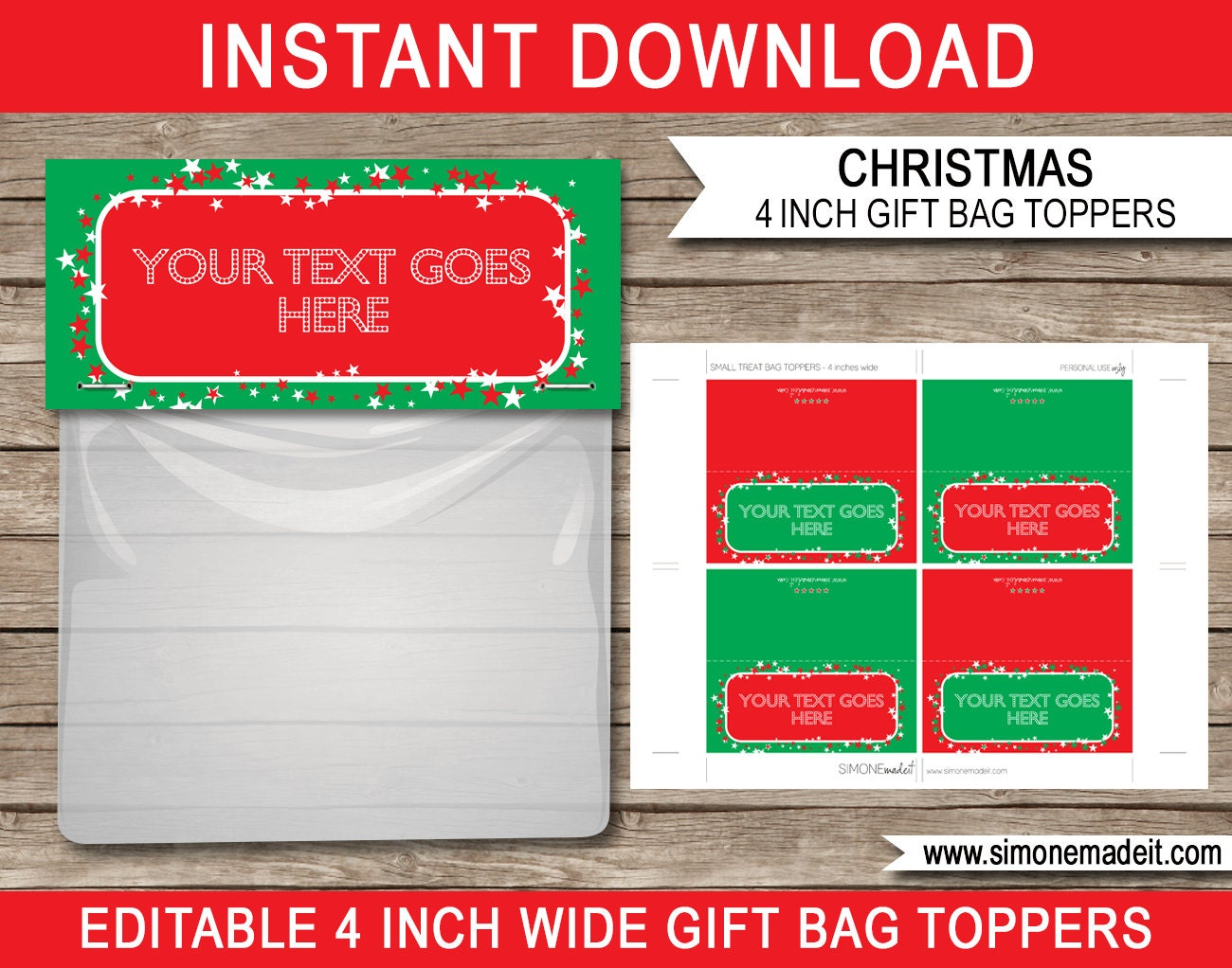 Christmas Bag Toppers Christmas Gift Tags Printable | Etsy