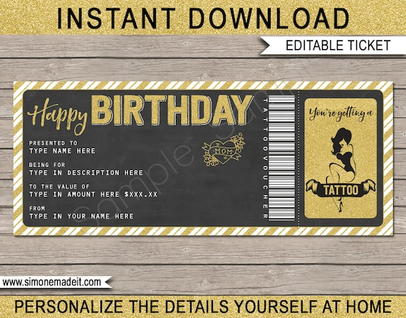 Tattoo Gift Voucher Ticket Printable Birthday Gift