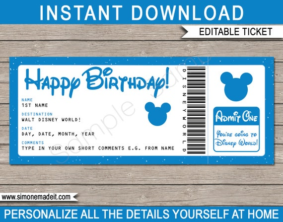 image relating to Free Printable Disney Tickets known as Ticket toward Walt Disney Planet - Pleased Birthday - Speculate Holiday