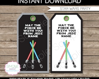 Star Wars Party Favor Tags - Thank You Tags - Birthday Party Favors - INSTANT DOWNLOAD with EDITABLE text template - you personalize at home