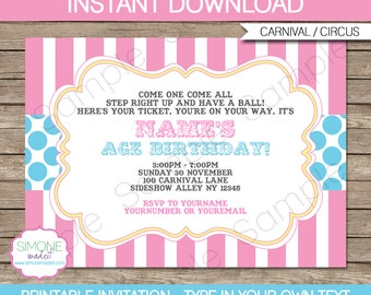 Pink Carnival Invitation Template - Pink and Aqua - Carnival Party - Circus Party - INSTANT DOWNLOAD with EDITABLE text - you personalize