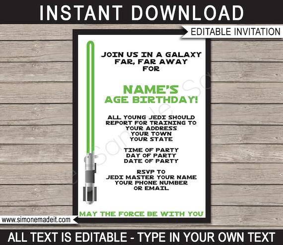 Star Wars Invite Template