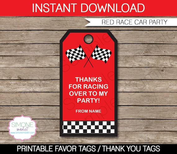 Race Car Favor Tags - Thank You Tags - Birthday Party Favors