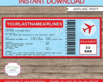 Airplane Boarding Pass Invitation - Airplane Invitation - Birthday Party - INSTANT DOWNLOAD with EDITABLE text - you personalize at home