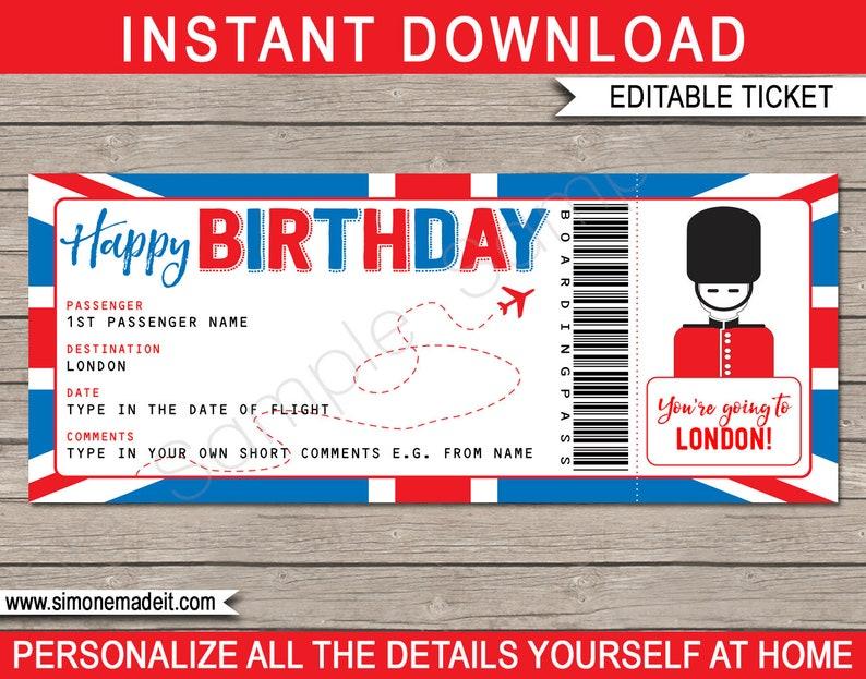Surprise Trip To London Boarding Pass Birthday Gift Printable Plane Ticket