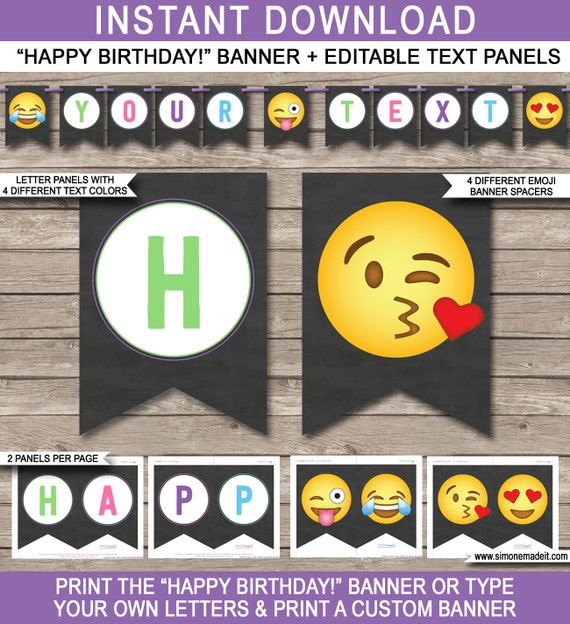 Emoji Birthday Banner Happy Printable
