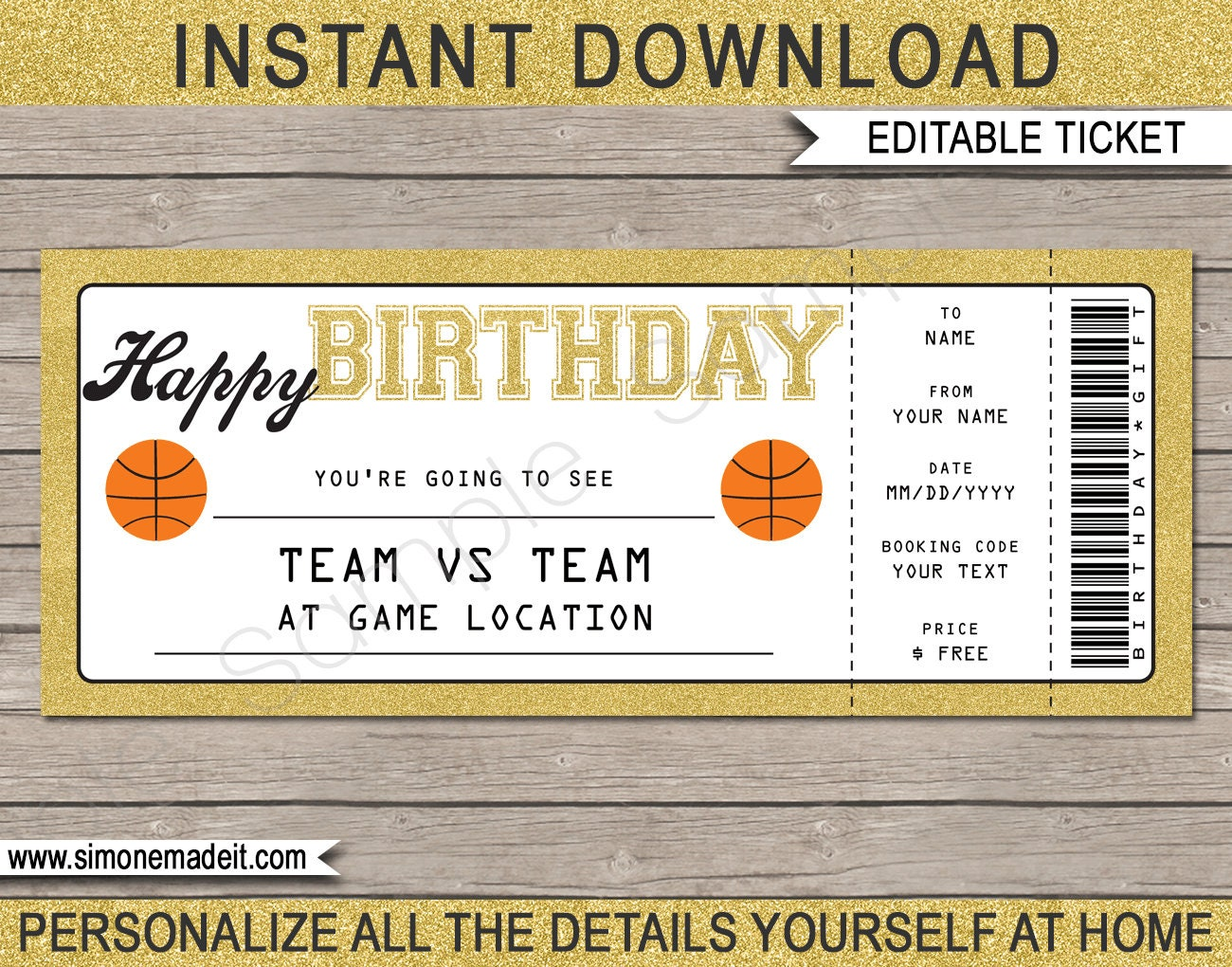 Birthday Basketball Game Ticket Gift - Surprise Ticket to Basketball Game -  Printable template - Gift Voucher - INSTANT DOWNLOAD - EDITABLE