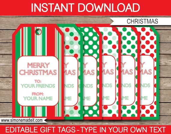 printable christmas gift tags christmas tags merry etsy