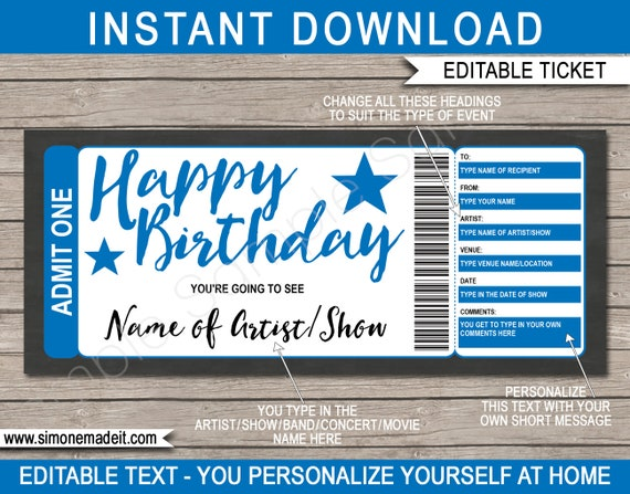 Show Ticket Template Birthday Gift Voucher - Surprise Broadway Show,  Concert, Band, Artist, Movie - INSTANT DOWNLOAD text EDITABLE