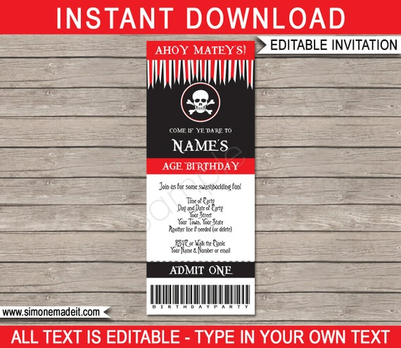 pirate party ticket invitation template pirate birthday party