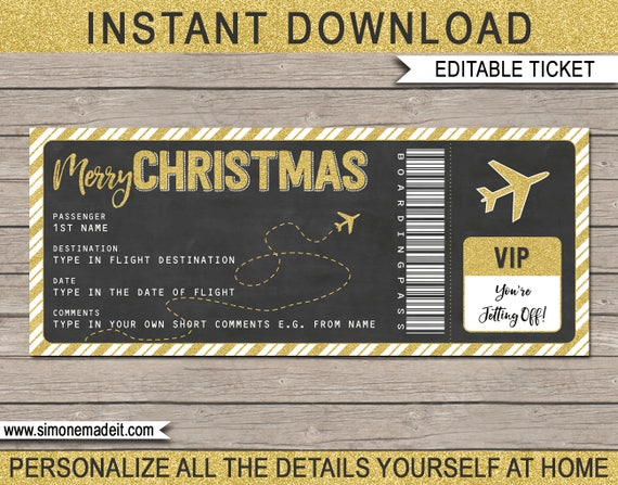 Christmas Plane Ticket Gift Printable Boarding Pass Etsy