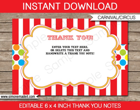 Carnival Party Thank You Cards Circus Carnival Thank You Etsy