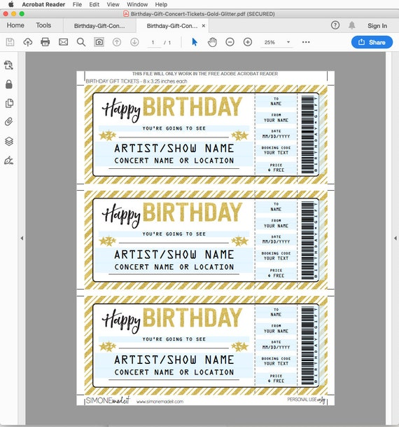 Concert Ticket Birthday Gift - Printable template - Surprise Concert, Show,  Band - Gift Certificate - INSTANT DOWNLOAD - EDITABLE text