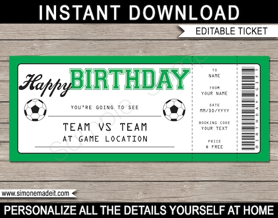 Soccer game ticket birthday gift surprise ticket to a soccer.