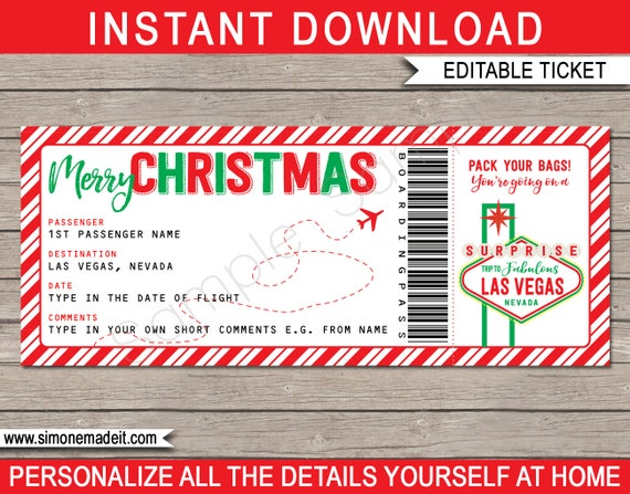 Las Vegas Boarding Pass Christmas Gift Printable Fake Plane Ticket