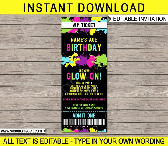 neon glow party ticket invitation neon glow theme birthday party