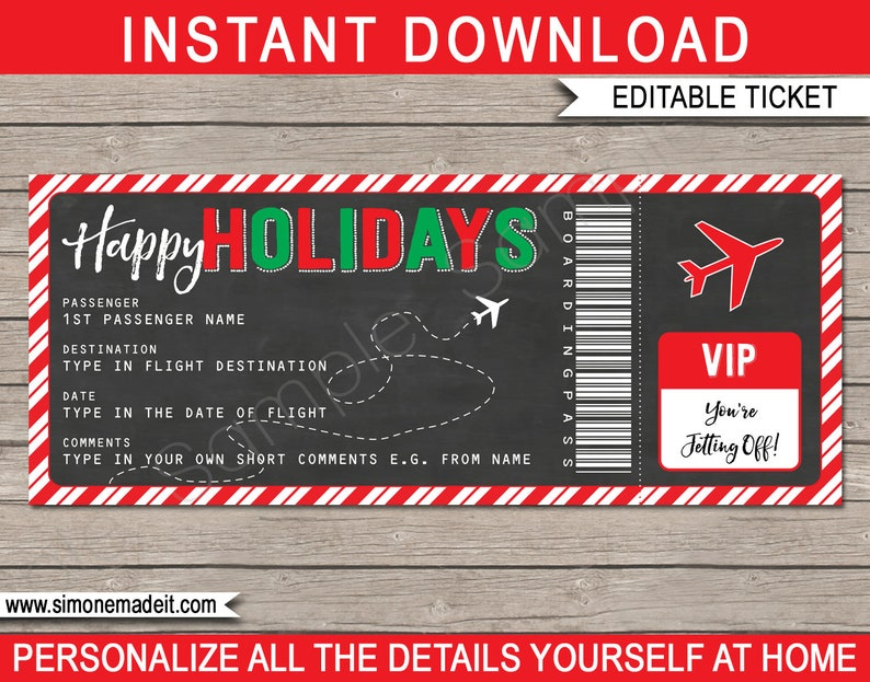 Holiday Gift Boarding Pass Ticket - Surprise Flight, Trip, Getaway,  Holiday, Vacation - Voucher - INSTANT DOWNLOAD with EDITABLE text