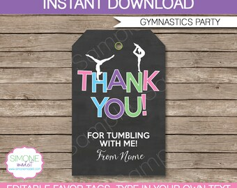 Gymnastics Favor Tags - Thank You Tags - Birthday Party Favors - INSTANT DOWNLOAD with EDITABLE text template - you personalize at home