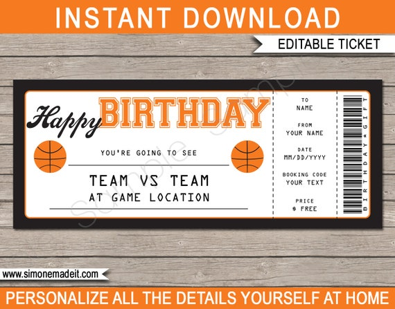 basketball game ticket birthday gift surprise ticket to the
